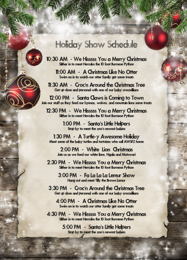 Christmas with the Critters Holiday Show Schedule Animal World and Snake Farm Zoo